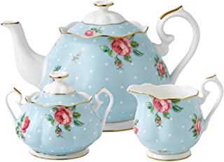 Royal Albert New Country Roses Polka 3 Piece Tea Set, Mostly Blue with Multicolored Floral Print