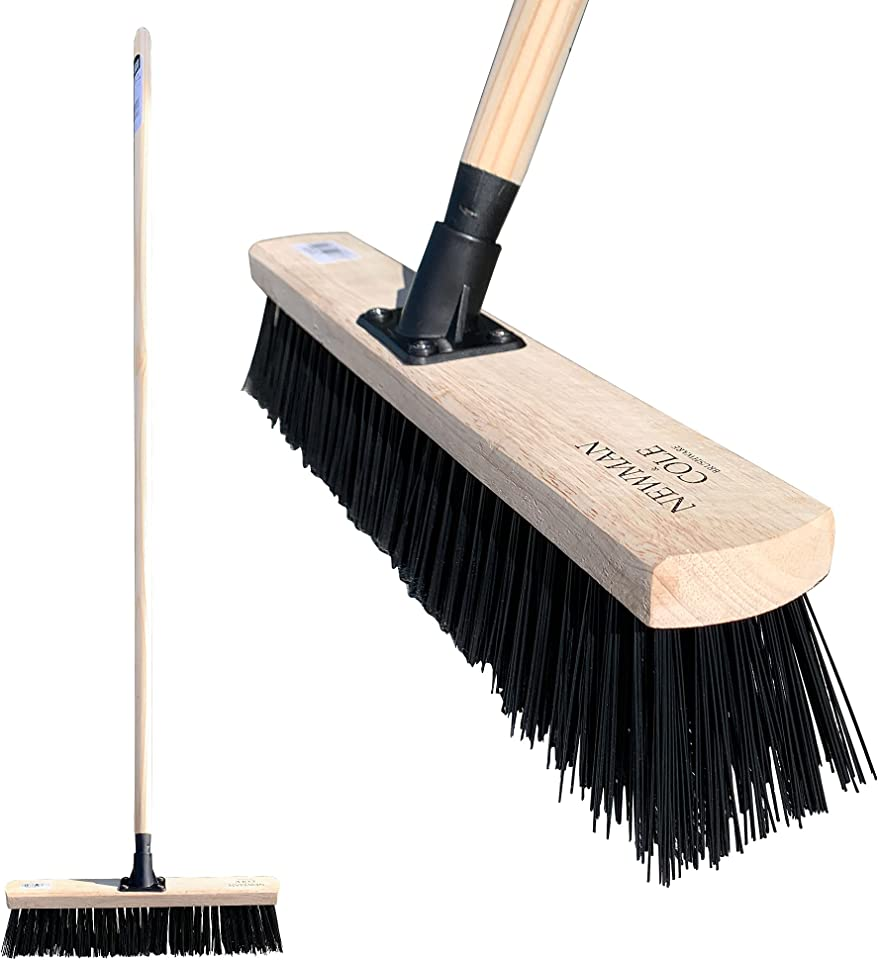 """Newman & Cole Garden Broom Outdoor, 18"""" Large Broom Stiff Brush with Synthetic PVC Bristles and Fitted with Long Wooden Handle"""