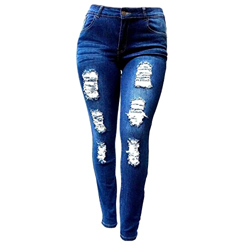 6b09c48dca0f7 Jack David GAZOZ Womens Plus Size Stretch Distressed Ripped Blue Skinny Denim  Jeans Pants