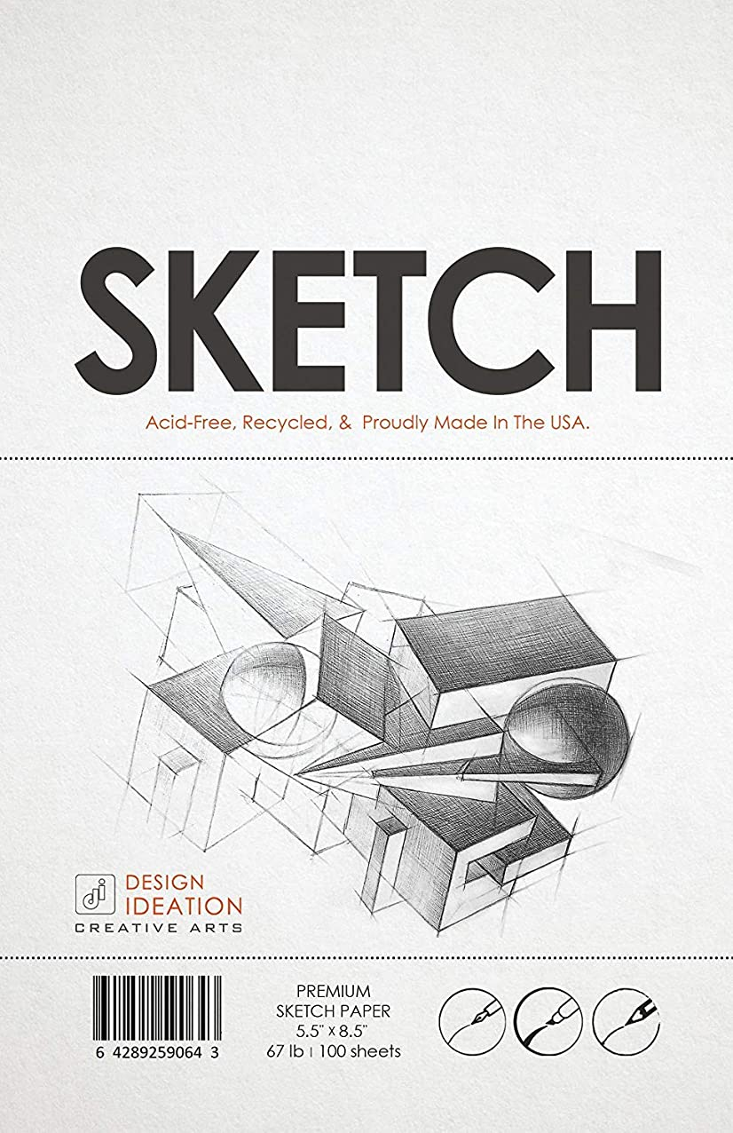 Premium Sketch Paper for Pencil, Ink, Marker, Charcoal and Watercolor Paints. Great for Art, Design and Education. Loose Pack. (100 Sheets(5.5