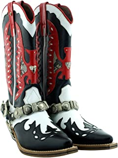 Oscar William Black Red Cowboy Mens Luxury Classic Handmade Leather Boots -8.5