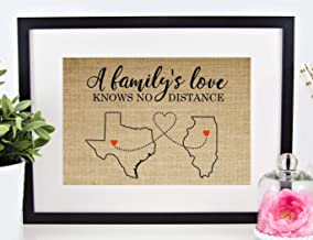 Personalized Long Distance Family Gift, Mother's Day Gift for Mom Dad Grandma Father Mother Sign: Map of ANY CITY, STATE, or COUNTRY (8x10 or 11x14 Burlap Print)