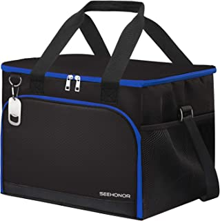 SEEHONOR 45-Can Insulated Cooler Bag Leakproof Soft Sided Cooler Bag Collapsible Portable Cooler for Camping Picnic Lunch BBQ Beach
