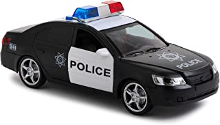 Toy To Enjoy Friction Powered Police Car with Light & Sounds – Heavy Duty Plastic Vehicle Toy for Kids & Children – Openable Doors, Detailed Interior