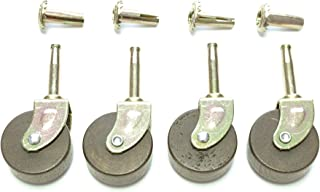 Wood Furniture Casters Wood Casters for Furniture Set of 4 Dark Hard Wood Stem Casters Wheels with Inserts, 1 5/8