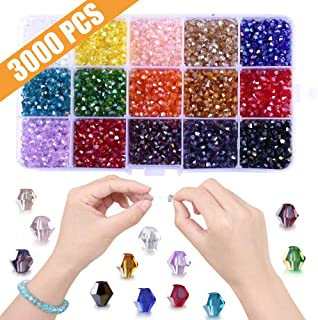 Bicone Beads for Jewelry Making, 3000pcs 4mm Faceted Crystal Glass Beads- Perfect for Handmade Crafts, DIY Bracelet, Necklaces, Dolls(15 Color- AB Colorful)