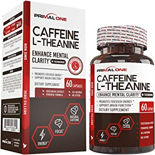 Caffeine with L-Theanine & Theobromine for Sustained Energy & Focus - Natural Nootropic Energy Supplement for Men & Women - 60 Veggie Pills