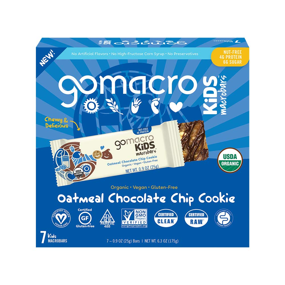 GoMacro Kids MacroBar Organic Vegan Snack Bars - Oatmeal Chocolate Chip Cookie (0.90 Ounce Bars, 7 Count)