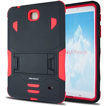 Samsung Galaxy Tab 4 7 inch case, iRhino BLACK-RED Heavy Duty rugged Dual Layer Hybrid Case cover with Build In Kickstand Protective Case cover For Samsung galaxy Tab 4 7 inch T230 Tablet case cover