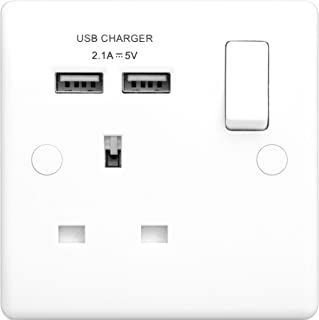 British General Switched Socket 2.1 Output, White