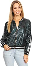 Anna-Kaci Womens Long Sleeve Front Zip Track Stripe Sequin Bomber Jacket