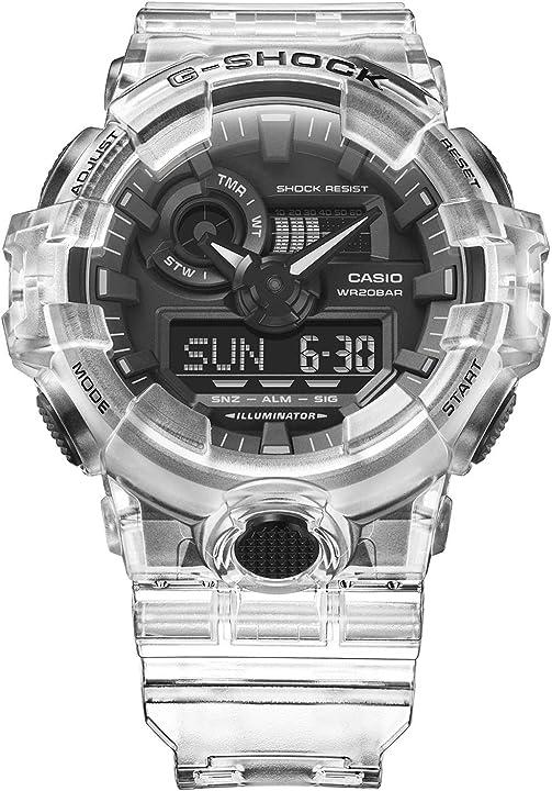 orologio casio g-shock ga700ske-7a trasparente/nero taglia unica
