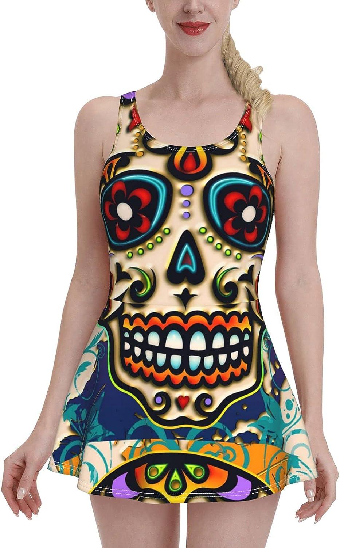 Sugar Skull Mexico Dia De Los Muertos Day of Dead Tummy Control Bathing Suits for W
