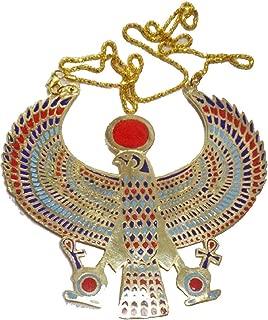bonballoon Egyptian Horus Jewelry Necklace Pendant Ankh Key Life XXL Solid Brass Pharaoh Collar Choker Ancient Egypt Pharaohs Costume Accessory Jewelry Belly Dance