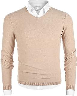 MOCOTONO Men's V-Neck Long Sleeve Pullover Casual Sweater