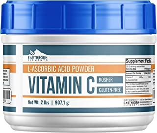 Vitamin C Powder (L-Ascorbic Acid) (2 lb) by Earthborn Elements, Resealable Tub, Antioxidant, Boost Immune System, DIY Skin Care, Satisfaction Guaranteed