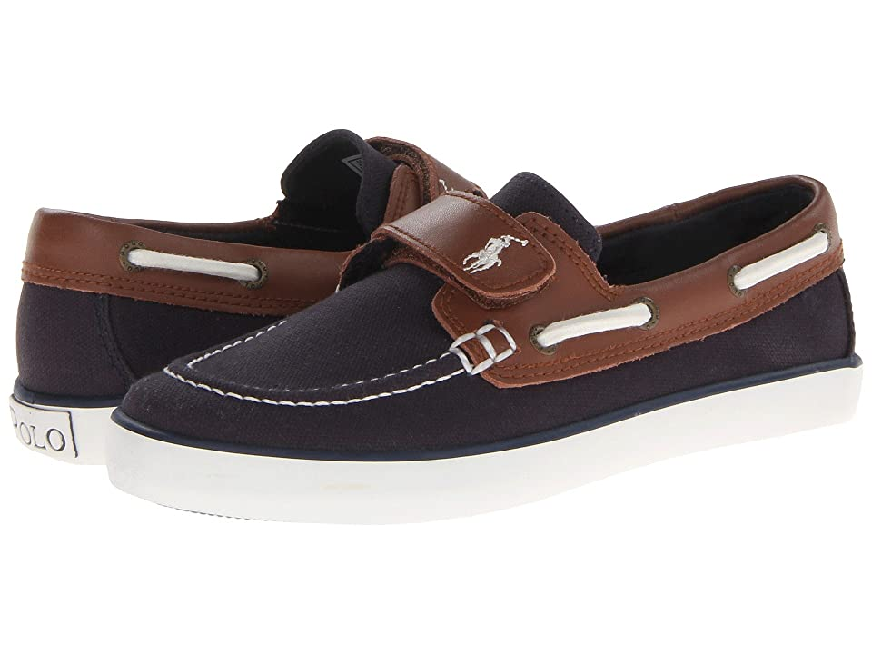 Polo Ralph Lauren Kids Sander-CL EZ (Little Kid) (Navy Canvas/Tan Leather) Boys Shoes
