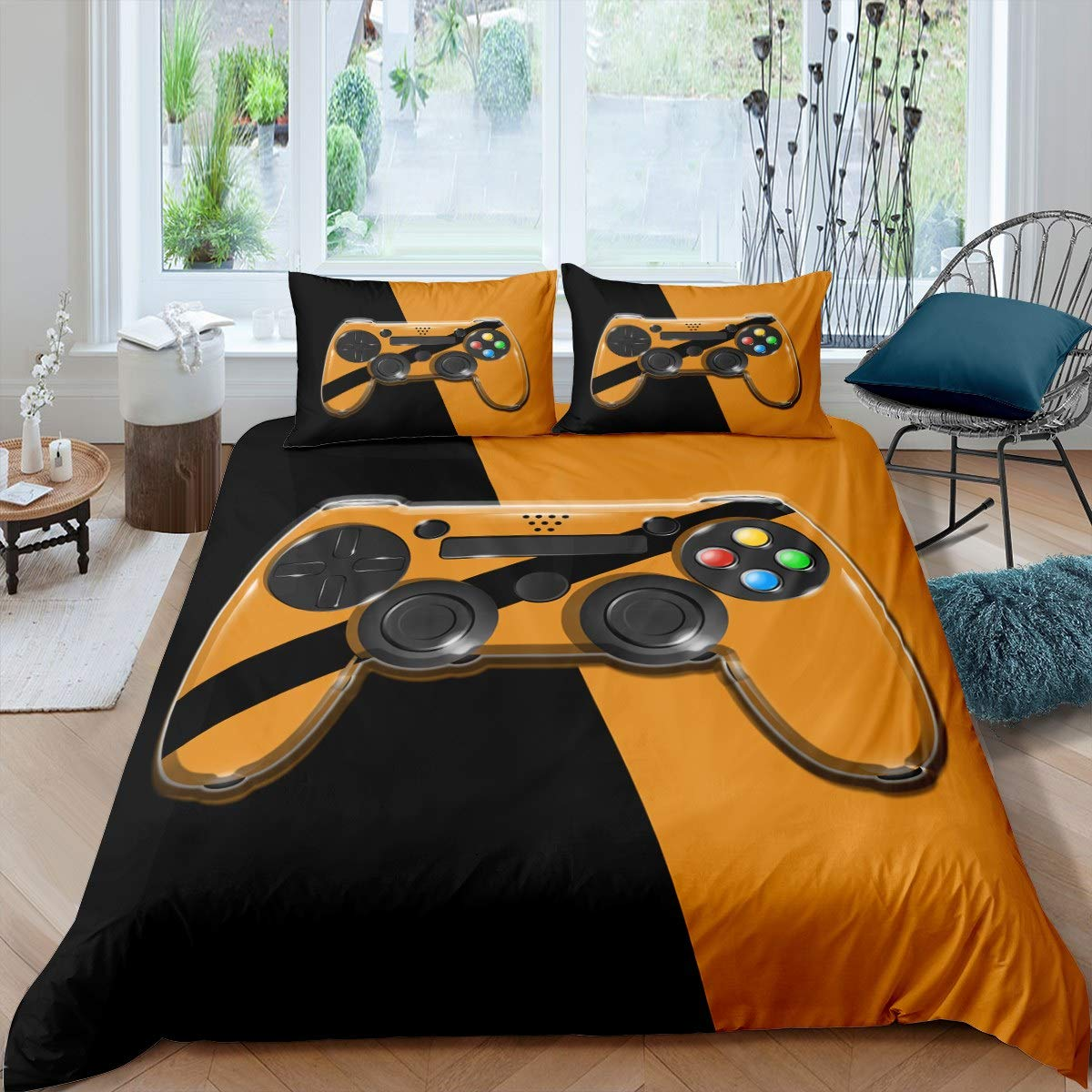 Feelyou Gamer Duvet Cover Set,Games Comforter Cover for Kids Boys Girls,Video Game Gamepad Bedding Set Novelty Modern Game Controller Bedspread Cover Purole Action Buttons Bedclothes Black,3Pcs,Full