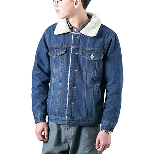 76a46ed3a1b1 Lentta Men s Vintage Relax Fit Thick Fleece Sherpa Lined Denim Jean Jacket  Coat