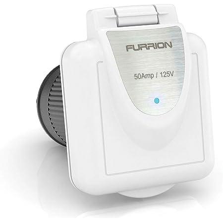Furrion 50A 125/250V LED Square Inlet - White