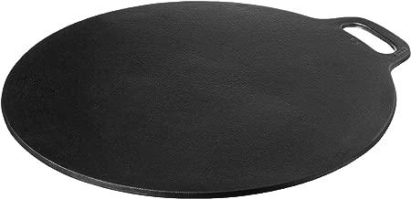 Victoria GDL-182 Cast Iron Dosa Pizza Pan, 15 Inch, Black