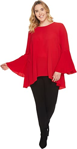 Vince Camuto Specialty Size - Plus Size Pleated Bell Sleeve High-Low Blouse