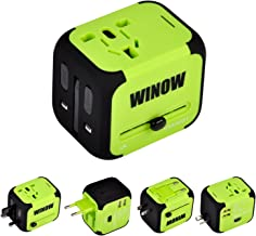 WINOW International Travel Plug Adapter, Worldwide Power AC Wall Charger with Dual USB & USA, UK, AU, EU - Great for iPhone/iPad/Laptops/Samsung/Smartphone,Spare Safty Fuse+Zipper Case (Green)