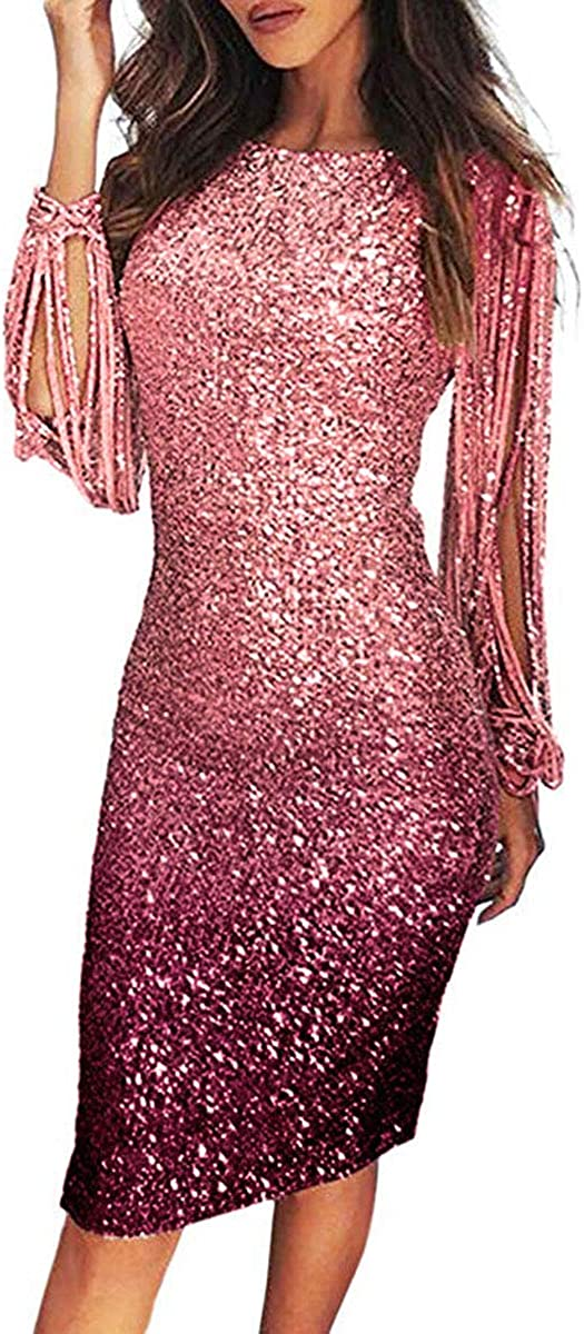 Max 63% OFF aifuu Womens Evening Dress Gradient Sacramento Mall Long Sleeve Sequined Fringe