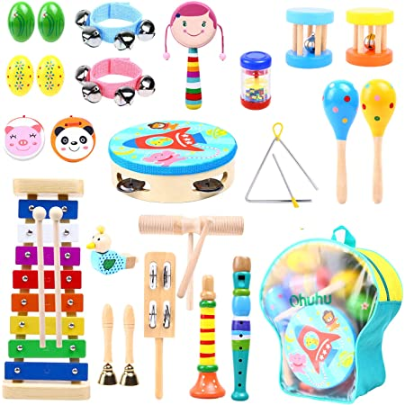 Music Instruments for Kids 30 Pcs, Ohuhu Music Toys Kid Musical Instrument Set for Child with Tuned Xylophone, Storage Backpack Included, Birthday Presents Set for Kids