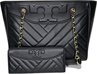 Tory Burch Alexa Small Flat Quilted Tote bundled with Tory Burch Alexa Slim Envelope Wallet