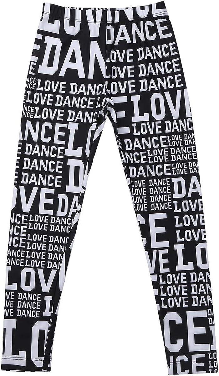 JEEYJOO Kids Girls Ballet Dance Pant Elastic Waistband Letter Printed Dancer Athletic Activewear Tight Legging