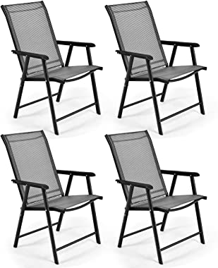 S AFSTAR Folding Patio Chairs, Portable Chair with Armrests for Outdoor Lawn Garden Backyard Poolside (Gray Set of 4)