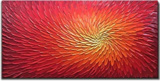 Amei Art Paintings,24X48 Inch 3D Hand-Painted Artwork Abstract Flower Oil Painting On Canvas Red Art Wood Inside Framed Hanging Wall Decoration Abstract Painting (Fiery Red)