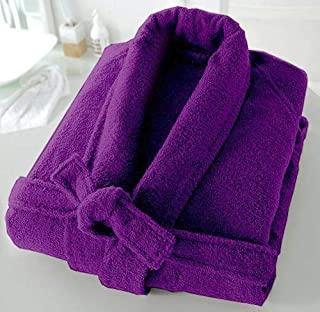 Casabella Uni Sex 100% Cotton Terry Towelling Shawl Collar Bath Robe Dressing Gown_Purple_XX-Large
