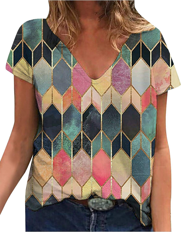 LLuao Women Short Sleeve Geometric V Neck Plus Size Color Block Henley Polo Shirts Blouse