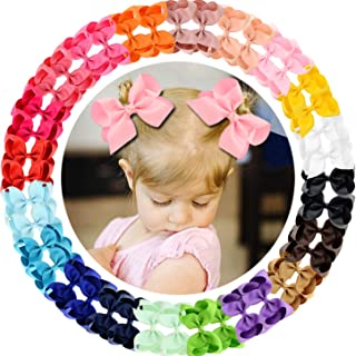 """40pcs 4.5"""" Hair Bows Clips Grosgrain Ribbon Bows Hair Alligator Clips Hair Barrettes Hair Accessories for Baby Girls Toddler Infants Kids 20 Colors in Pairs"""
