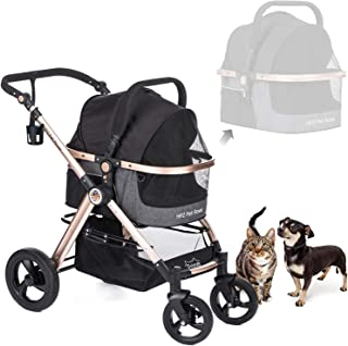 HPZ Pet Rover Prime 3-in-1 Luxury Dog/Cat/Pet Stroller (Travel Carrier +Car Seat +Stroller) with Detach Carrier/Pump-Free Rubber Tires/Aluminum Frame/Reversible Handle for Medium & Small Pets