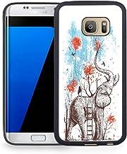 Funda para Samsung Galaxy S7 Edge, Carcasa Negra de Gel de Goma TPU, Acuarela niña y Elefante