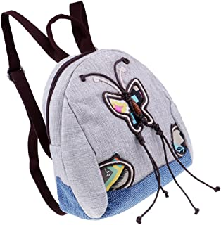 Baoblaze Small Retro Fashion Backpack Purses Embroidery Butterfly Design Shoulder Bag