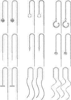 9 Pairs Stainless Steel Chain Tassel Earrings Drop Dangle Threader Earrings Set Double Twist Wave Long Bar Arrow Hoop Earr...