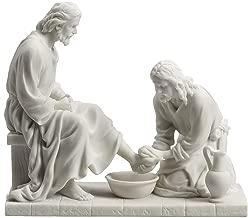 Jesus Christ Washing His Disciple's Feet Statue Sculpture Figurine White Finish