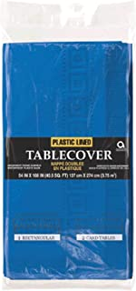 Amscan 3PLY Plastic Lined Paper Tablecover, Bright Royal Blue