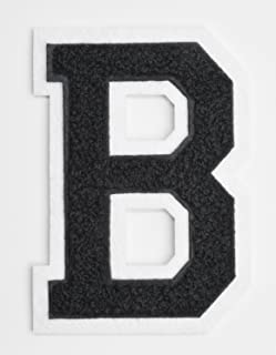 Varsity Letter Patches - Black Embroidered Chenille Letterman Patch - 4 1/2 inch Iron-On Letter Initials (Black, Letter B Patch)