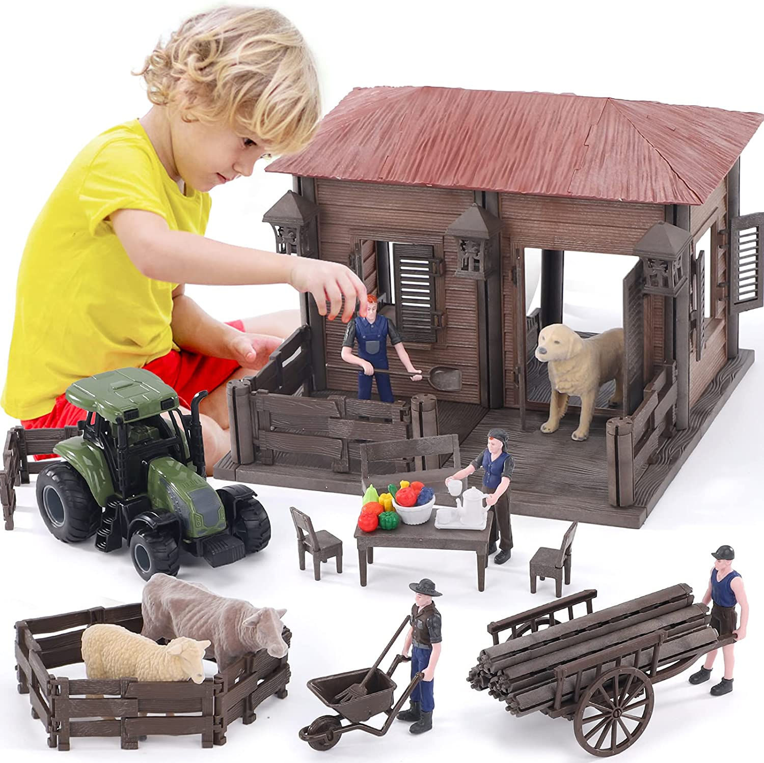 Lucky Doug Max 43% OFF Farm Animal House Toys Rapid rise for Toddlers Ages Kids Playset
