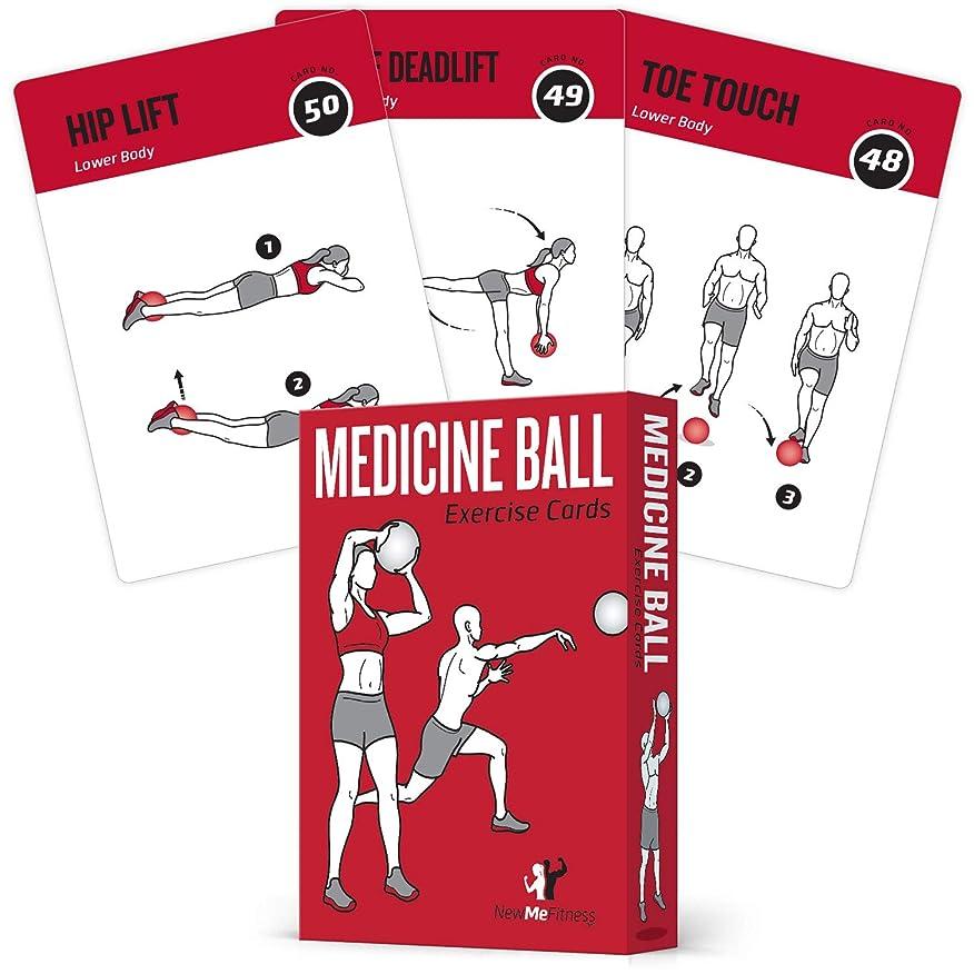 アフリカ人赤外線じゃがいもメディシンボール エクササイズカード 62枚セット 高強度のホーム/ジムトレーニング用 すべてのフィットネスレベルに対応する50のエクササイズ XLサイズ 3.5 x 5インチ 防水&耐久性 図と説明書付き