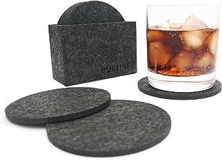 BULUSI 吸水コースター フェルトコースター(収納ケース付き)ドリンクコースター適用飲酒、飲茶、飲コーヒー - 円形 8枚入
