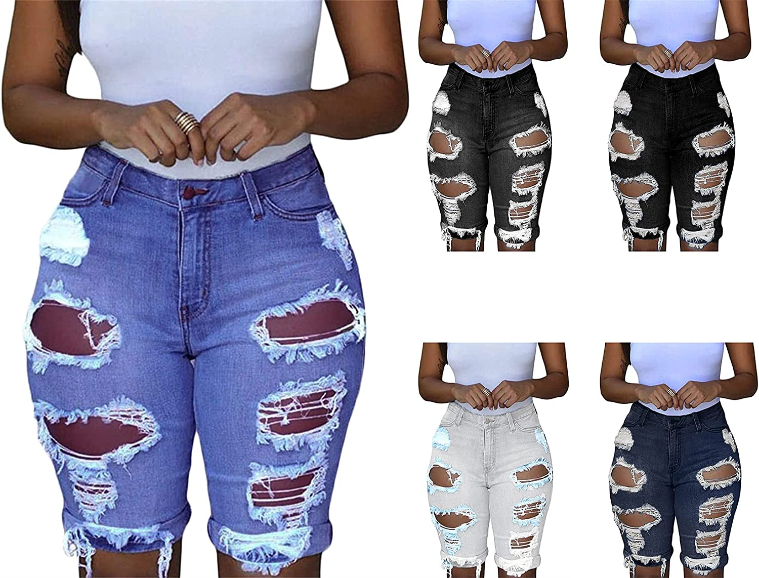 Andongnywell Women's Ripped Denim Destroyed High Rise Stretchy Bermuda Shorts Jeans with Zipper Buttons