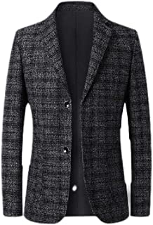 FSSE Men's Casual Business Slim Fit Plaid Check Dress Blazer Jacket Sport Coat