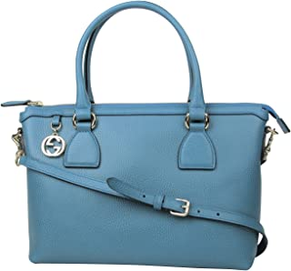 e471d8372513 Gucci GG Charm Teal Blue Leather Medium Convertible Straight Bag With Strap  449659 4618