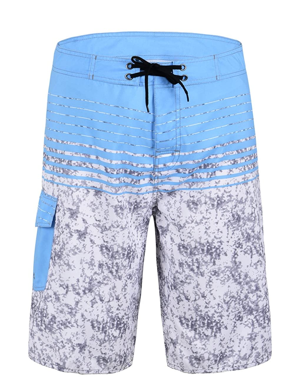 Unitop Men's Beachwear Striped Printed Fast Dry Surf Trunks with Lining
